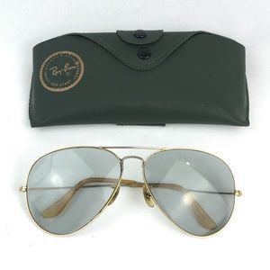VTG Ray Ban Aviator Sunglasses Gold Retro Gray